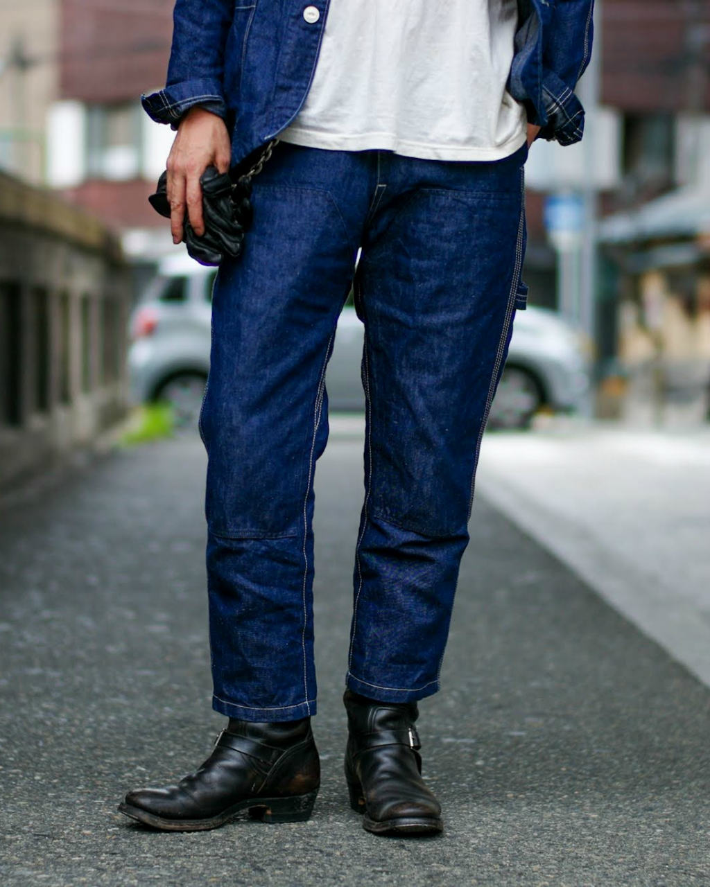 COTTON LINEN DENIM PAINTER PANTS