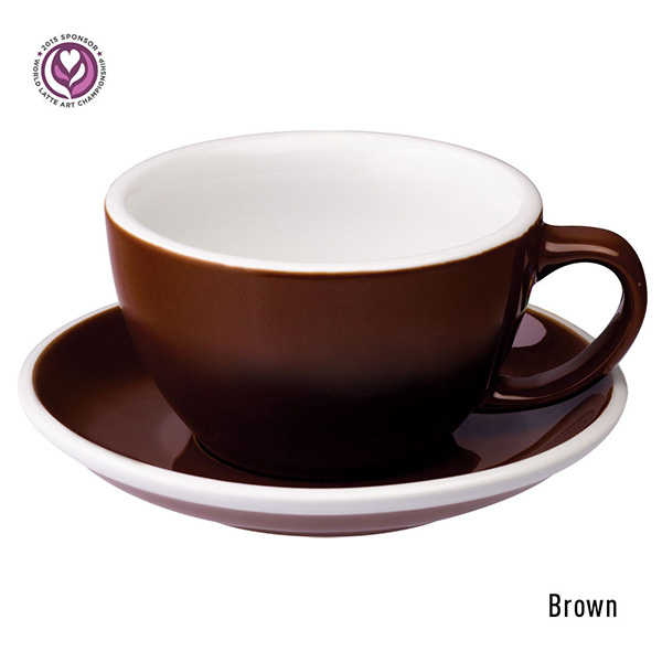Egg 300ml Cafe Latte Cup&Saucer (6客) / Brown