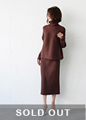 Thick rib knit set-up brown