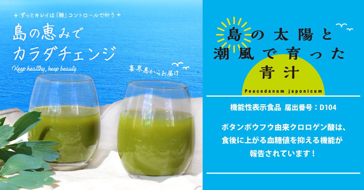 美味しく血糖値コントロール・糖質オフできる、まじめな島の太陽と潮風で育った青汁